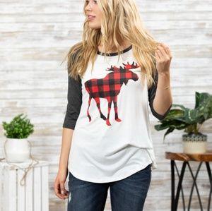 Buffalo Plaid Moose Raglan